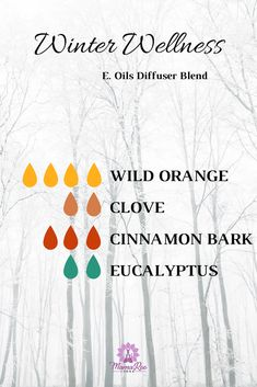 Winter Wellness Essential Oils Diffuser Blend. This blend is designed to help you stay well in body, mind and soul especially through the winter and cold, darker months of the year. Diffuse 4 drops of wild orange, 2 drop clove, 3 drops cinnamon bark and 2 drops eucalyptus essential oils with this winter wellness blend. Click the image for 6 Winter Wellness Self Care Tips for Health and Re-pin to share with a loved one!