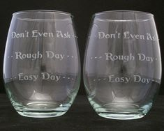 Good Day Bad Day Stemless Wine Glasses Christmas by Etchddreams