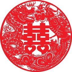 chinese double happiness, dragon and phoenix
