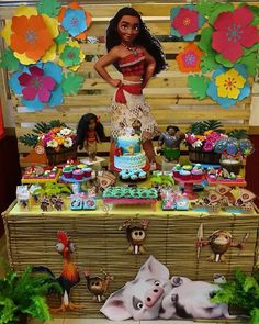mesa arrumada moana Aloha Party, Moana Birthday Party, Moana Party, Luau Birthday, 3rd Birthday Parties, Girl Birthday, Festa Moana Baby, Moana Theme, Second Birthday Ideas