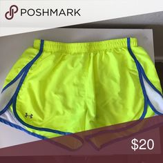 Under Armour Shorts Neon yellow and blue shorts, semi-fitted, adjustable waist, good condition Under Armour Shorts
