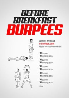 trainingsplan muskelaufbau Before Breakfast Burpees Workout Aerobics Workout, Gym Workout Tips, Burpees Workout, Short Workouts, Workout Men, Spartan Workout, Men Exercise, Dumbbell Workout, Workout Routines