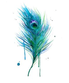 Water colors feather tattoo idea, maybe this style for the hummingbird