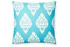 Damask 20x20 Outdoor Pillow, Aqua on OneKingsLane.com