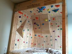 Some people are extremely passionate about rock climbing. So passionate that they'll turn their very own bedroom into an artificial, DIY rock climbing wall.