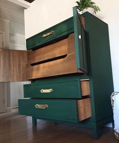 SOLD- Dark Emerald Green vintage mid century modern tall dresser chest of drawers with gold brass hardware- San Francisco Bay Area Green Painted Furniture, Refurbished Furniture, Paint Furniture, Furniture Makeover, Dark Wood Bedroom Furniture, Furniture Design, Green Dresser, Tall Dresser, Dressers
