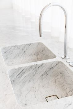 How about this seamless marble double sink?