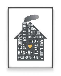 Personalisiertes Home Sweet Home Poster mit einem Haus. Für DEIN Wohnzimmer, Schlafzimmer und den Flur oder als Geschenk zum Einzug mit eigenem Text.