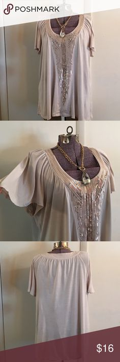 Tan Sequin Tunic Top Tan sequin tunic top, sequin front, bell sleeves, 100% rayon Apt. 9 Tops Tunics