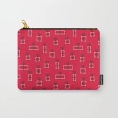 floor of gifts - cheerful christmas red pattern Carry-All Pouch by Marta Janicka - murkydesign - Small x Red Pattern, Pattern Design, Red Christmas, Xmas, Pouch, Wallet, Organize Your Life, Carry On, Cheer