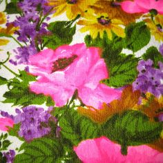 VIntage Fabric  Hawaiian Floral Print   Hot Pink by SelvedgeShop, $14.00