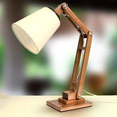abajur luminária madeira articulado rústico mesa - golden