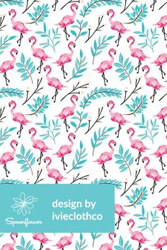 Pink Flamingos in Shade by ivieclothco - Hand painted flamingos in hot pink with teal leaves on fabric, wallpaper, and gift wrap.  Beautiful hand painted watercolor flamingos with soft teal leaves in a playful botanical themed design on a white background.  Perfect for wallpapering a beach house or making handmade throw pillows to bring a tropical theme to a room.  #flamingo #flamingos #watercolor #leaves #teal #hotpink #pink
