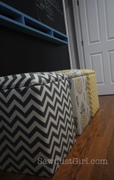 This DIY storage ottoman is perfect for adding color and/or patterns to your home. Also, it's a great storage ottoman for those living in small spaces.