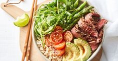 Add fresh avocado to this sensational beef and brown rice salad bowl.
