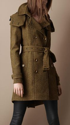 Burberry Tweed Trench Coat with Detachable Hood... Love the color!
