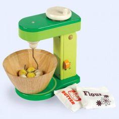 Houten Mixer met Schaal (verbeterde uitvoering).  Inhoud: Houten Mixer,kom,houtenkogels,1 zakje boter en een zakje bloem.