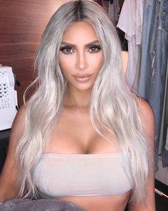 Pinterest: DEBORAHPRAHA ♥️ kim kardashian with platinum silver blonde hair color