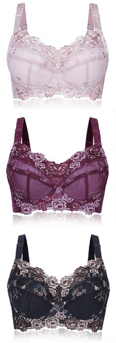 $ 18.68 Plus Size Sexy Push Up Adjustable Embroidery Full Cup Underwire Bras