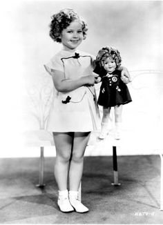 """1935 Shirley Temple & Shirley Temple doll dressed in """"Scotty dress"""" from Our Little Girl"""
