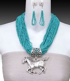 Turquoise Seed Bead Horse Cowgirl Necklace Set