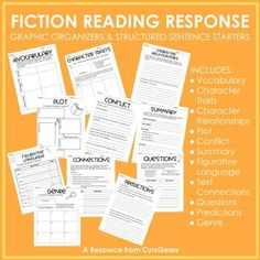 Fiction Reading Response Graphic Organizers by Cyr's Gears Reading Response, No Response, Text To Text Connections, Sentence Starters, Figurative Language, Fifth Grade, Comic Sans, Interactive Notebooks, Graphic Organizers