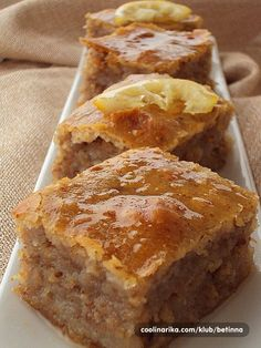 Of course, many moms will disagree that this is baklava and neither do I, but the ingredients are si Fruit Recipes, Sweet Recipes, Baking Recipes, Cake Recipes, Dessert Recipes, Bosanska Baklava, Baklava Dessert, Baklava Cheesecake, Croation Recipes