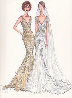 Custom Wedding Gown Illustration 2 BODIES by IllustrativeMoments, $250.00