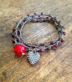 """Rustic Silver Heart Multi Wrap Bracelet 'Boho Love"""" $38.00"""