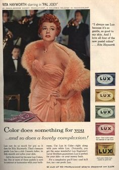 Rita Hayworth in lovely coral evening gown for LUX ad