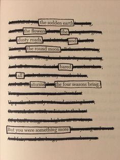 This is my favorite blackout poetry design! Poem Quotes, Words Quotes, Poems, Life Quotes, Qoutes, Sayings, Poetry Art, Poetry Books, Shel Silverstein