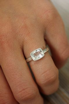 Vintage Inspired White Topaz Cushion Cut Ring in Sterling Silver and Millgrain Bezel