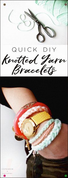 This easy DIY knotted yarn bracelet tutorial is perfect for kids and teens! Create several for a cool boho look or give them away as friendship bracelets! A great DIY to wear green for St. Yarn Projects, Diy Craft Projects, Craft Tutorials, Craft Ideas, Crochet Projects, Diy Ideas, Yarn Bracelets, Diy Bracelets Easy, Making Bracelets