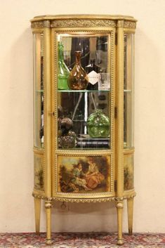 Curved Glass Gold Leaf French Vitrine or Curio Display Cabinet