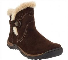 78.19$  Watch now - http://viasz.justgood.pw/vig/item.php?t=kgrg3h2682 - Earth Origins Leather Ankle Boots Faux Fur Trim Karlene Bark 11W NEW A270053