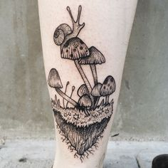 Little snail riding on mushroom island by Pony Reinhardt at Tenderfoot Studio in Portland, OR.