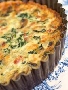 Ingredients:    1 pie crust, rolled out and fitted into a 9″ pie pan  3 eggs, beaten  1 1/2 cups milk  1 Tbsp oil  1 medium onion, minced  8 oz mushrooms, sliced  1 bag (6 oz) baby spinach  6 strips bacon, cooked and crumbled  1 1/2 cups Gruyere cheese, shredded  1 tbsp flour  Salt & Pepper, t