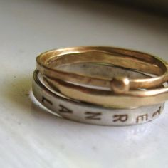 Currently ranked #1  Gold and sterling silver personalized stacking wedding
