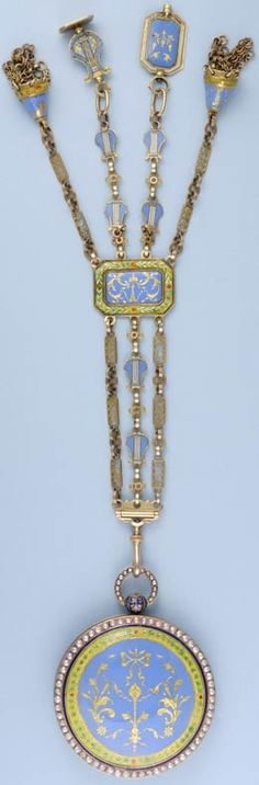 Gold and Enamel Watch with Chatelaine Circa 1790
