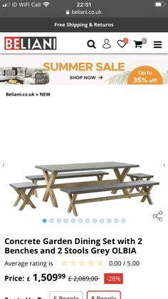 Garden Dining Set, Concrete Garden, Picnic Table, Summer Sale, Stool, Furniture, Home Decor, Decoration Home, Room Decor