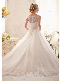 White A-line / Princess Ärmlös Tulle Scoop Chapel Train Applique bröllopsklänningar för 4 424 kr