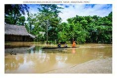 En un brazo del Río Marañón, tres niños awajún de la comunidad Bajo Canampa, se desplazan sobre una canoa.