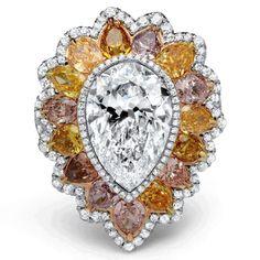 Gorgeous white & yellow color diamonds ring