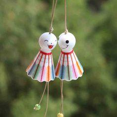 Items similar to Kawaii Badminton Shape Ceramic Windbell WInd Chimes on Etsy Colorful Feathers, Cool Items, Wind Chimes, Pottery, Shapes, Ceramics, Christmas Ornaments, Holiday Decor, Creative