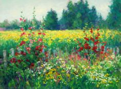 Original pastel painting, Hollyhock Border, pastel, 9x12, sold. Copyright, 2014, Kathleen Kalinowski.
