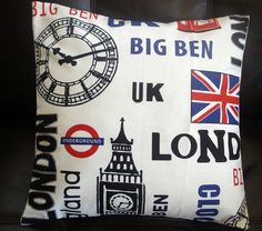 Throw Pillow London Town underground big ben england clock union jack 16 inch cushion cover transport