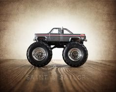 Vintage Monster Truck Grey Striped Chevy Photo by shawnstpeter, $20.00