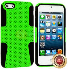 Amazon.com: myLife (TM) Lime Green + Black Survivor Slim (Layered Mesh Armor) 2 Piece Case for iPhone 5/5S (5G) 5th Generation iTouch Smartp...