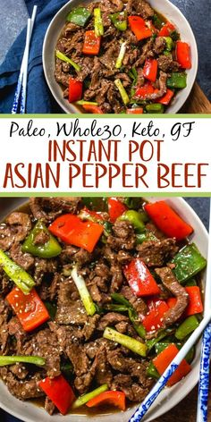 This paleo and instant pot pepper beef is a quick and easy weeknight meal that's also keto, gluten free and under 30 minutes. instant pot recipes like this pepper beef are also great for meal prepping. It's like a simplified version of a be Whole30 Beef Recipes, Crock Pot Recipes, Healthy Recipes, Healthy Pressure Cooker Recipes, Whole 30 Crockpot Recipes, Easy Whole 30 Recipes, Paleo Ideas, Quick Recipes, Whole Food Recipes