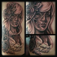 Pin Up Skull Tattoo - Miss Marshall - http://inkchill.com/pin-up-skull-tattoo/